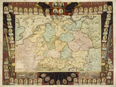Map of the German Empire with Portraits of the Holy Roman Emperors, Published by Louis-Charles?-Nicolas De Fer-Giclee Print