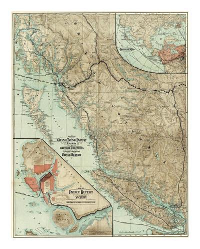 Map of the Grand Trunk Pacific Railway In British Columbia, c.1910--Art Print