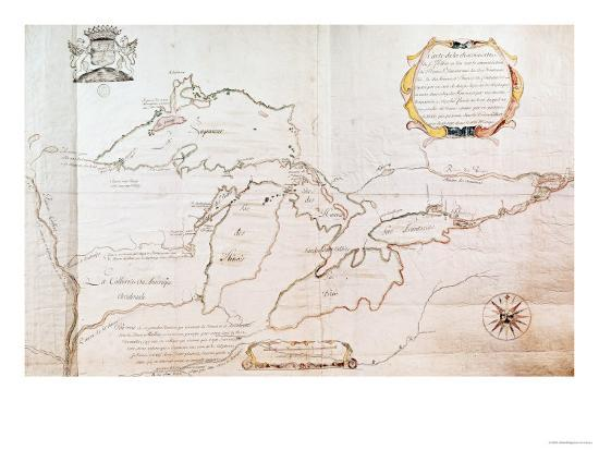 Map of the Great Lakes- Jolliet-Giclee Print
