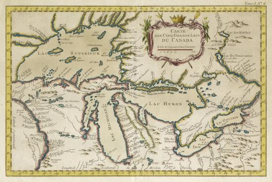 Map of the Great Lakes--Art Print