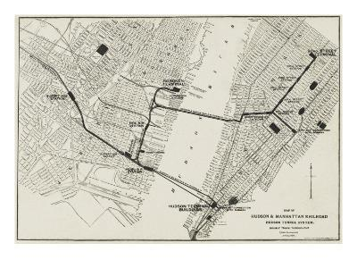 Map of the Hudson and Manhattan Railroad Subway System in New York, America--Giclee Print