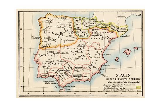 Map of the Iberian Peninsula Under the Moors, 11th Century ...