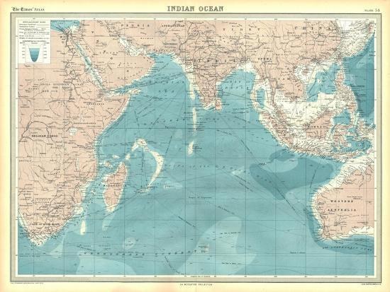 Map of the Indian Ocean-Unknown-Giclee Print