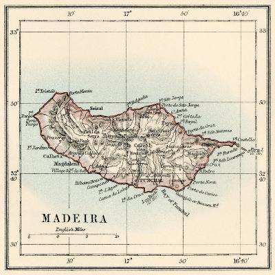 Map of the Island of Madeira, 1870s--Giclee Print