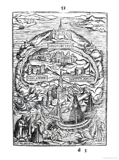 Map of the Island of Utopia, Book Frontispiece, 1563--Giclee Print