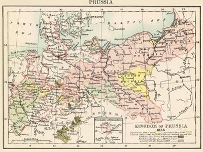 Map of the Kingdom of Prussia, 1866