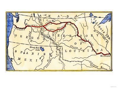 Map Of Louisiana Territory.Map Of The Lewis And Clark Route Across Louisiana Territory C 1804