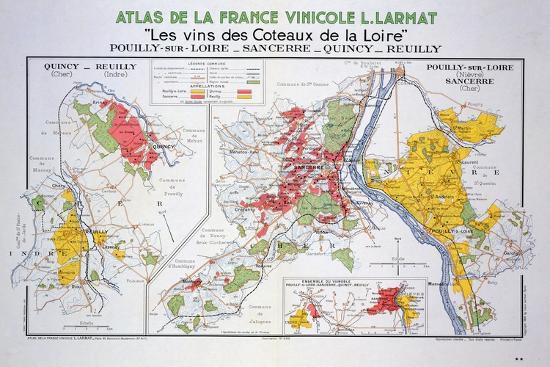 Sancerre France Map.Map Of The Loire Region Pouilly Sur Loire Giclee Print By Art Com