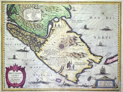 Map of the Magellan Straits, Patagonia--Giclee Print