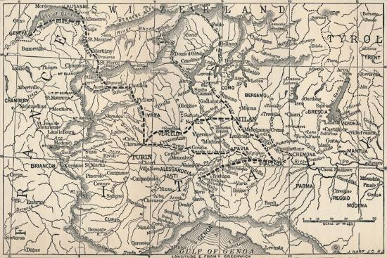 'Map of the Marengo Campaign', 1800, (1896)-Unknown-Giclee Print