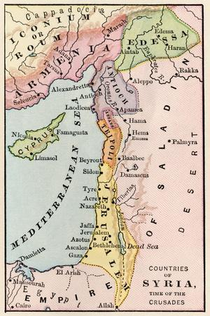 photo about Printable Maps of the Middle East named Map of the Heart East at the Season of the Crusades Giclee Print via