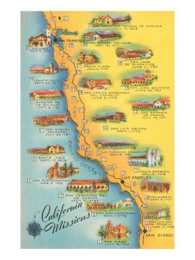 Map of the Missions, California--Art Print