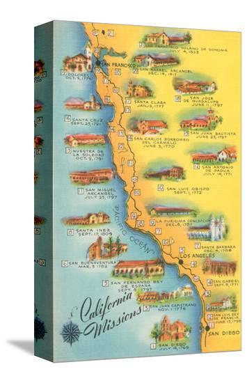 Map of the Missions, California--Stretched Canvas Print