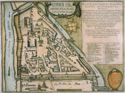 Map of the Moscow Kremlin (Castellum Urbis Moskva), Russia, 1597-Willem Janszoon Blaeu-Giclee Print