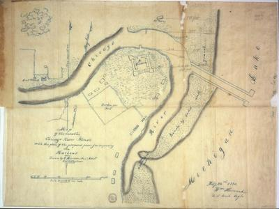 Map of the Mouth of the Chicago River, Illinois with the Plan of the Proposed Piers for Improving…-E. Harrison-Giclee Print