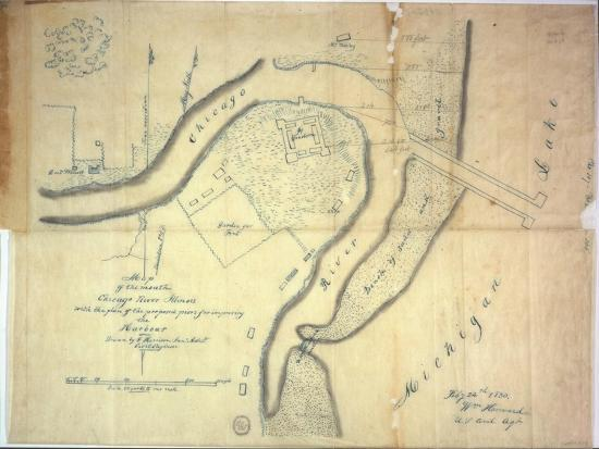 Map of the Mouth of the Chicago River, Illinois with the Plan of the  Proposed Piers for Improving… Giclee Print by E. Harrison   Art.com
