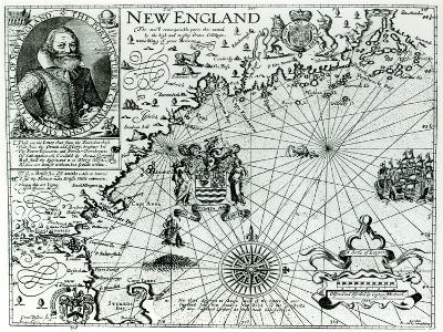 Map of the New England Coastline in 1614, Engraved by Simon de Passe-John Smith-Giclee Print