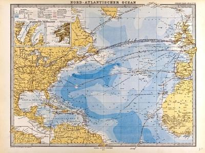 Map of the North Atlantic, 1872--Giclee Print