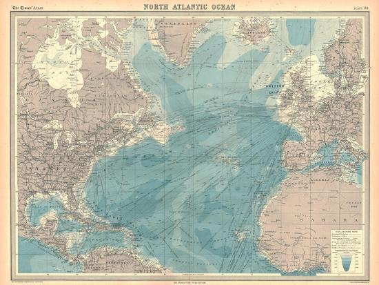 Map of the North Atlantic Ocean-Unknown-Giclee Print