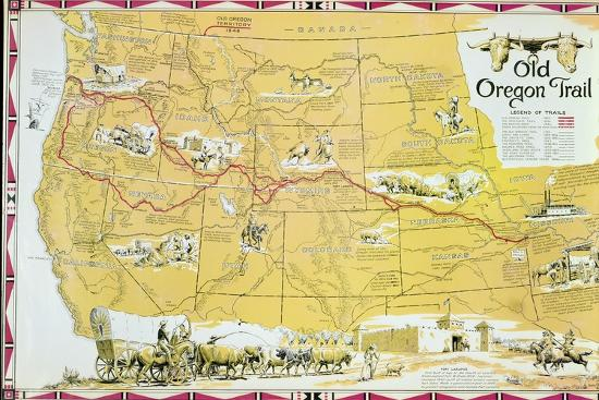 Map of the old oregon trail giclee print by american school art map of the old oregon trailby american school publicscrutiny Image collections