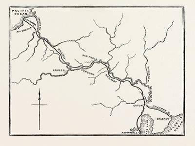 Map of the Panama Railroad, Panama, 1870s