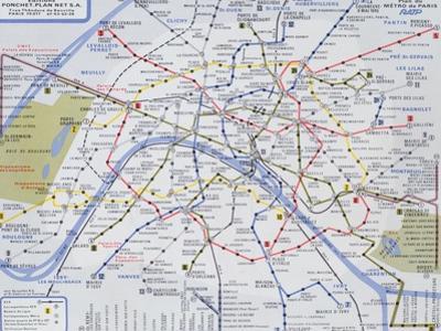 Map of the Paris Metro, 1989