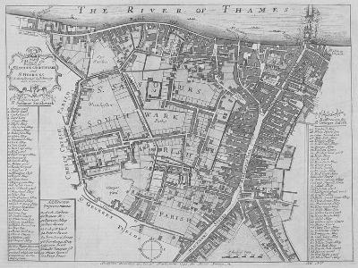 Map of the Parishes of St George's and St Saviour'S, Southwark, London, 1755--Giclee Print