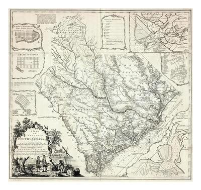 graphic regarding Printable Map of South Carolina called Map of the Province of South Carolina, c.1773 Artwork Print as a result of James Cook dinner