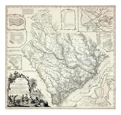 photograph regarding Printable Map of South Carolina referred to as Map of the Province of South Carolina, c.1773 Artwork Print through James Cook dinner