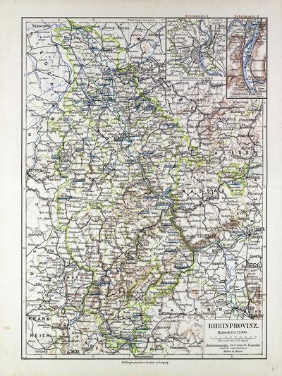 Map of the Rheinprovinz Germany 1899--Giclee Print