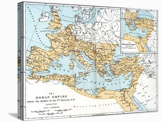 Map of the Roman Empire, 2nd Century Ad--Stretched Canvas Print