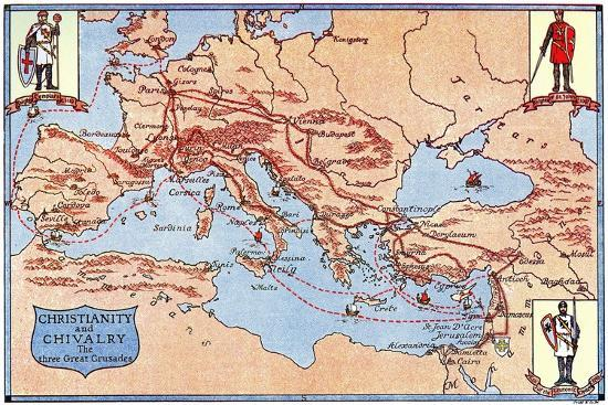 Map of the Routes of the Three Great Crusades, 1926- Criss-Giclee Print