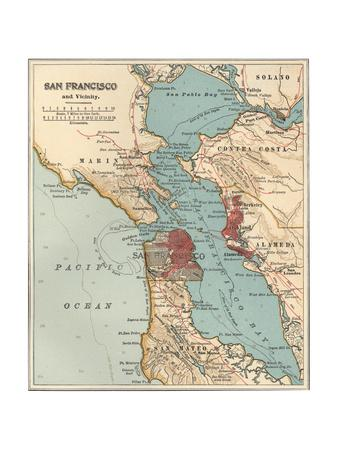 graphic about San Francisco Maps Printable known as Map of the San Francisco Bay Place (C. 1900), Maps Giclee Print as a result of Encyclopaedia Britannica