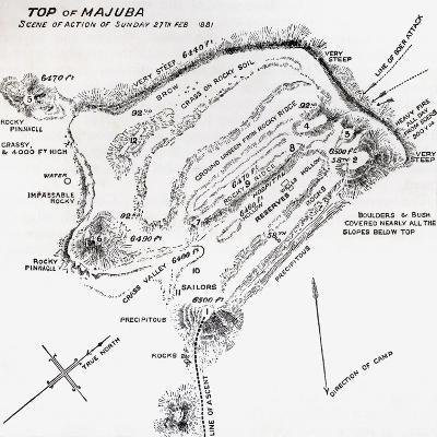 Map of the Scene of Action During the Battle of Majuba Hill--Giclee Print