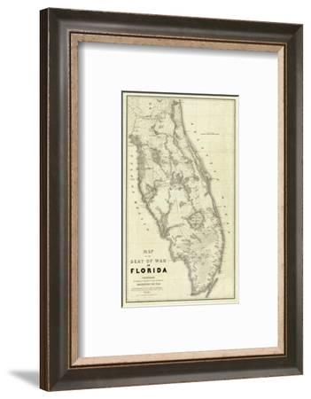 Map of the Seat of War in Florida, c.1838-Washington Hood-Framed Art Print