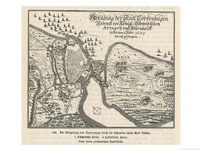 Map of the Siege of Copenhagen Denmark by Carl X Gustav of Sweden--Giclee Print