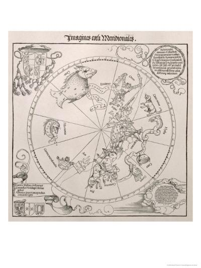 Map of the Southern Sky, Cardinal Lang Von Wellenburg Dedication, Imperial Copyright, 1515-Albrecht D?rer-Giclee Print