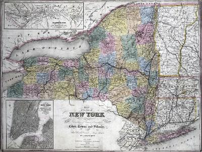 Map of the State of New York, 1850--Giclee Print