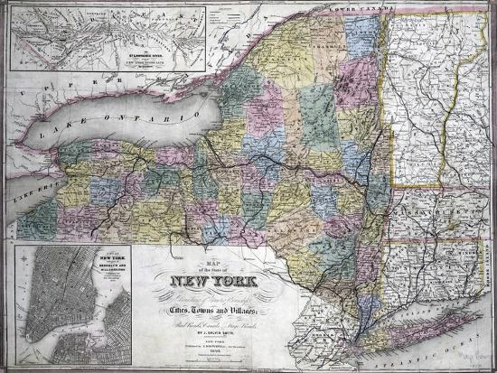 Map Of New York 1850.Map Of The State Of New York 1850 Giclee Print By Art Com