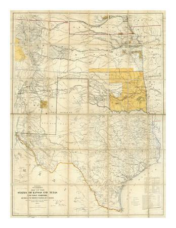 Map of The States of Kansas and Texas and Indian Territory, c.1867--Art Print