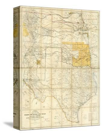 Map of The States of Kansas and Texas and Indian Territory, c.1867