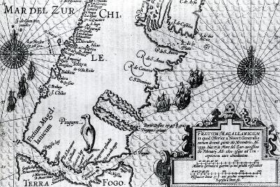 Map of the Strait of Magellan, Plate from Oliver Van Noort's Description of His Voyage, 1602--Giclee Print