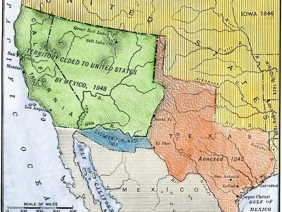Map of the Territory Ceded by Mexico to the U.S. after the Mexican-American  War, c.1848-1853 Giclee Print by | Art.com