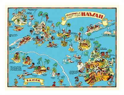 graphic relating to Printable Maps of Hawaii titled Map of the Territory of Hawaii - American Samoa - Pictorial Map Giclee Print as a result of Ruth Taylor White