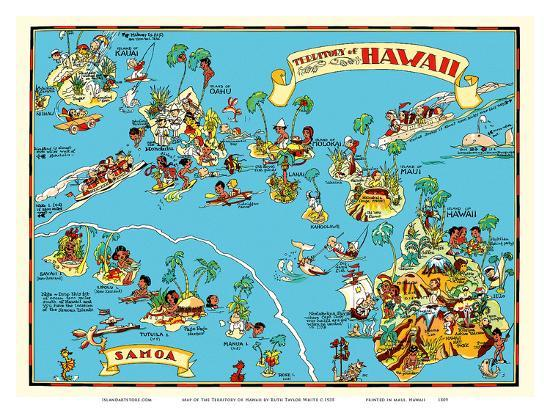 Map of the Territory of Hawaii - American Samoa - Pictorial Map Art Print  by Ruth Taylor White | Art.com
