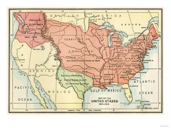 Map Of The Us Boundary Disputes With Spain And Great Britain C - Us-map-1812