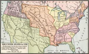 Map of the U.S. in 1792, Showing Colonial Claims on Oregon Territory