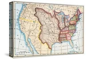 Map of the U.S. in 1803, Showing the Louisiana Purchase