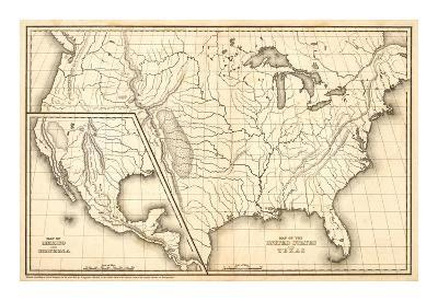 Map of the United States and Texas, Mexico and Guatimala, c.1839-Samuel Augustus Mitchell-Art Print