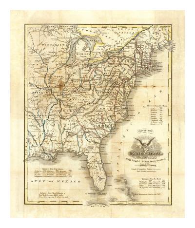 Map of The United States, c.1845-John Warner Barber-Art Print